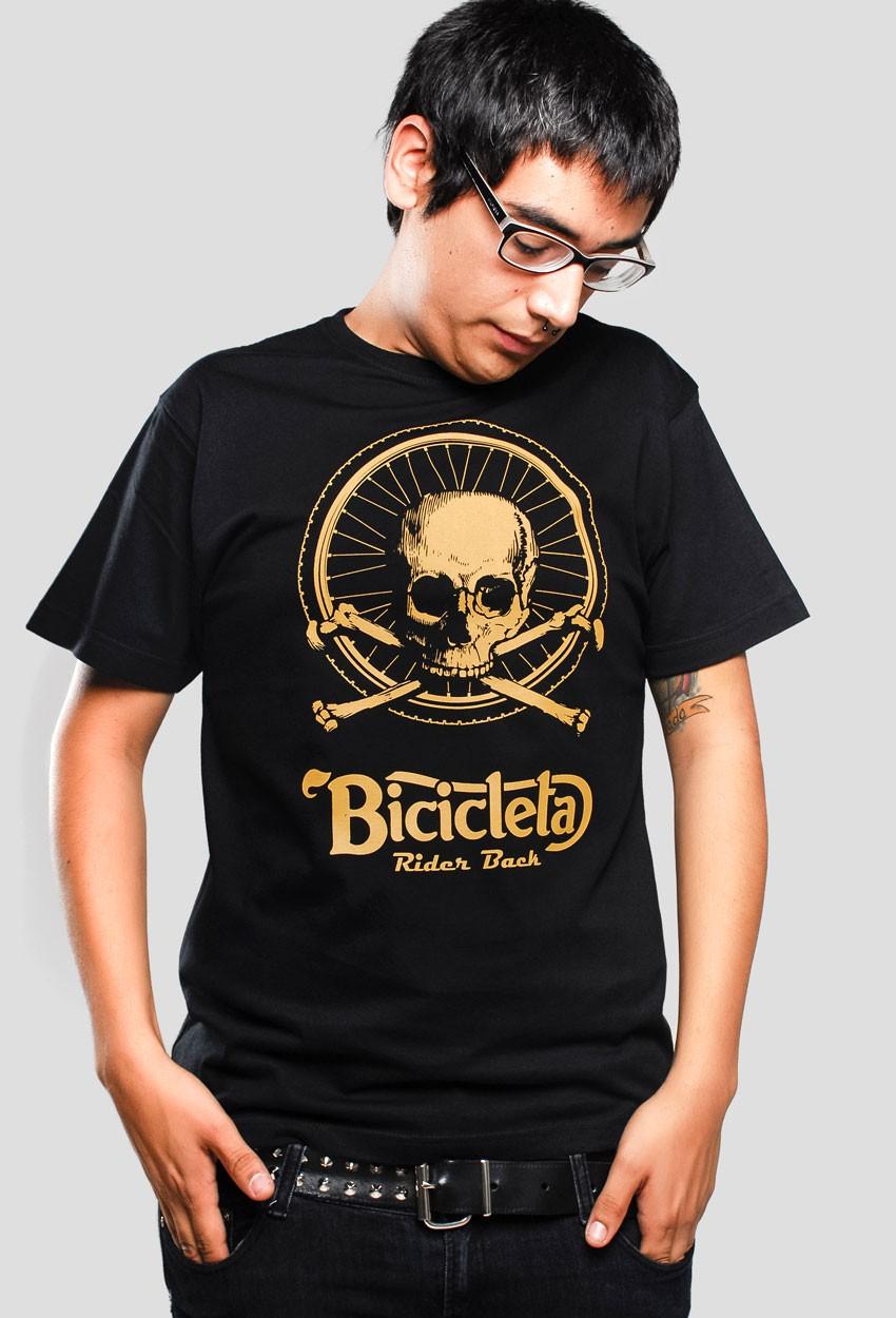 camiseta rueda de bicicleta negra