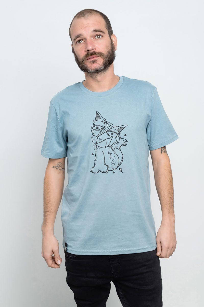 camiseta de animales zorrito azul